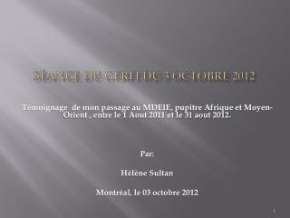 S �ance du GERFI du 3 octobre 2012