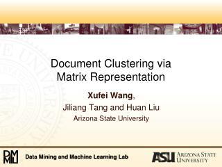 Document Clustering via  Matrix Representation