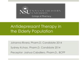 Antidepressant Therapy in  the Elderly Population