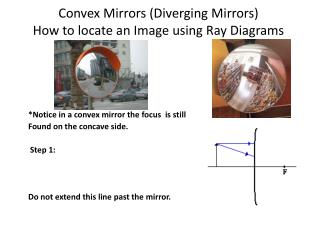 Convex Mirrors (Diverging Mirrors) How to locate an Image using Ray Diagrams