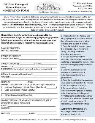 2013 Most Endangered  Historic Resources NOMINATION FORM