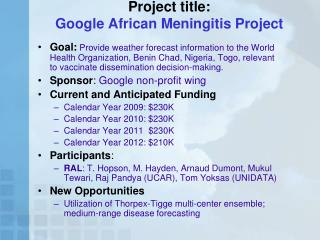 Project title: Google African Meningitis Project