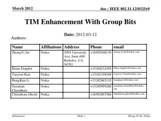 TIM Enhancement With Group Bits