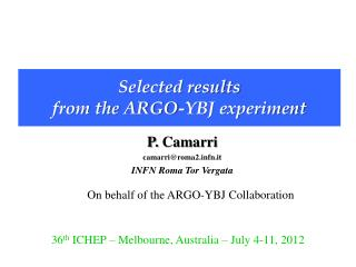 Selected results  from the ARGO-YBJ experiment