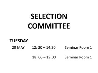 SELECTION  COMMITTEE