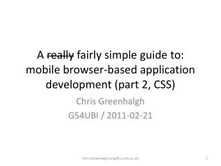A  really  fairly simple guide to: mobile browser-based application development (part 2, CSS)