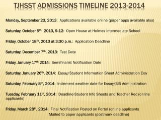 TJHsSt  Admissions timeline 2013-2014