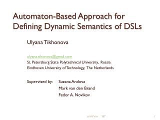 Automaton-Based Approach for Defining Dynamic Semantics of DSLs