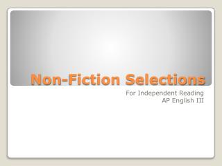 Non-Fiction Selections