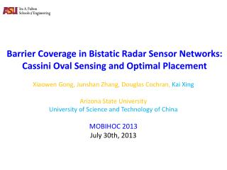 Barrier Coverage in  Bistatic  Radar Sensor Networks:   Cassini Oval Sensing and Optimal Placement