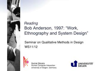 "Reading Bob Anderson, 1997: ""Work, Ethnography and System Design"""