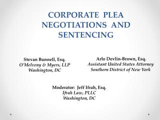 CORPORATE   PLEA NEGOTIATIONS  AND SENTENCING