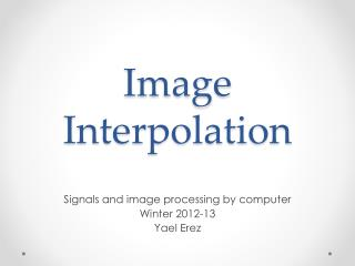 Image  Interpolation