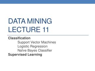 DATA MINING LECTURE  11