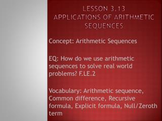 Lesson 3.13 Applications of Arithmetic Sequences