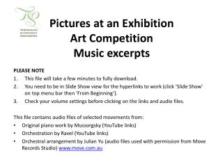 Pictures at an Exhibition  Art Competition Music excerpts