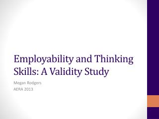 Employability and Thinking Skills: A Validity Study