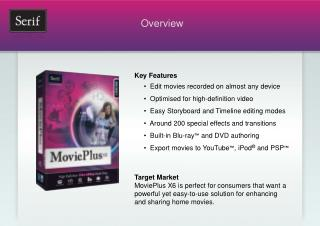 Key Features      •  Edit movies recorded on almost any device