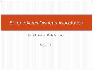 Serene Acres Owner's Association