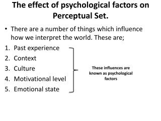 The effect of psychological factors on Perceptual Set.