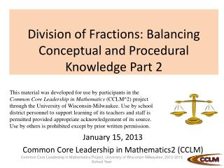 Division of Fractions: Balancing Conceptual and Procedural Knowledge Part 2