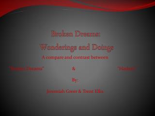 Broken Dreams:  Wonderings and Doings