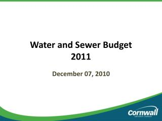 Water and Sewer Budget 2011