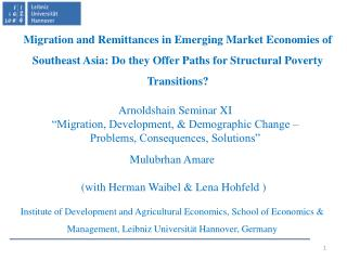 "Arnoldshain Seminar XI ""Migration, Development, & Demographic Change –"