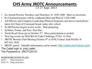 CHS Army JROTC  Announcements