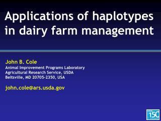 Applications of haplotypes in dairy farm management