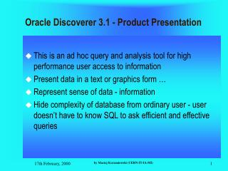 Oracle Discoverer 3.1 - Product Presentation