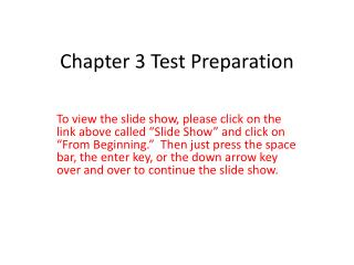 Chapter 3 Test Preparation