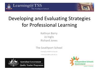 Developing and Evaluating Strategies for Professional Learning