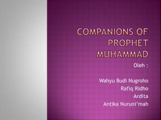 Companions of prophet Muhammad