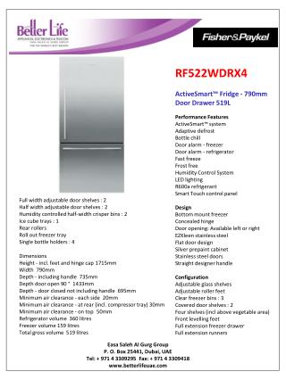 RF522WDRX4 ActiveSmart ™ Fridge - 790mm Door Drawer 519L Performance Features