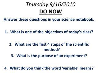 Thursday 9/16/2010 DO NOW