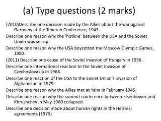 (a) Type questions (2 marks)