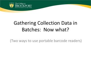 Gathering Collection Data in Batches:  Now what?