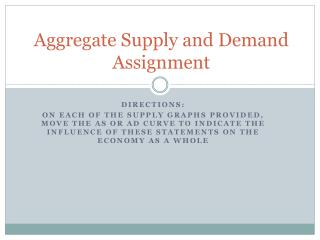 Aggregate Supply and Demand Assignment