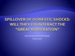 "Spillover of Domestic Shocks: Will they counteract the ""great moderation"""