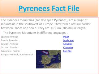 Pyrenees Fact File