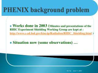 PHENIX  background problem