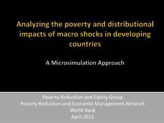 Poverty Reduction and Equity Group Poverty Reduction and Economic Management Network World Bank