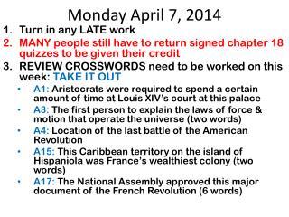 Monday April 7, 2014