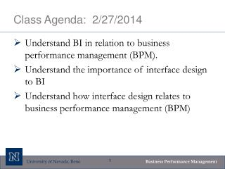 Class Agenda:  2/27/2014