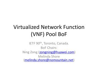 Virtualized Network Function (VNF) Pool  BoF