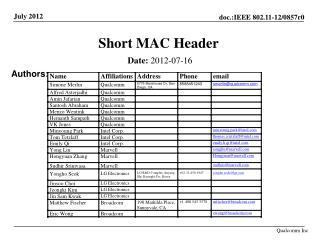 Short MAC Header