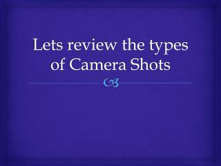 Lets review the types of Camera Shots