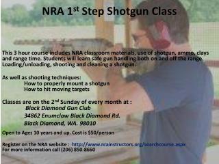 NRA 1 st  Step Shotgun Class