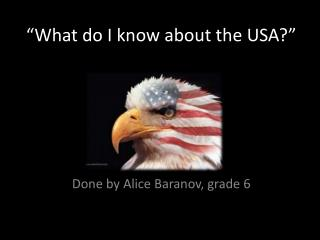 """What do I know about the USA?"""